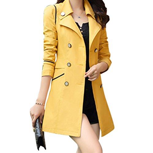 Hiver Trench Veste Croisé Manteau Femme Printemps Automne Coton Yellow dtvnxZxq