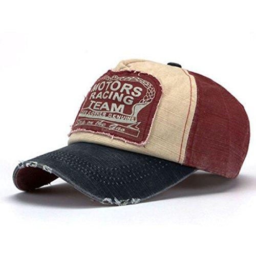 Vovotrade New Unisex Baseball Cap Cotton Motorcycle Cap Edge Grinding Do Old Hat (Marineblau + rot)