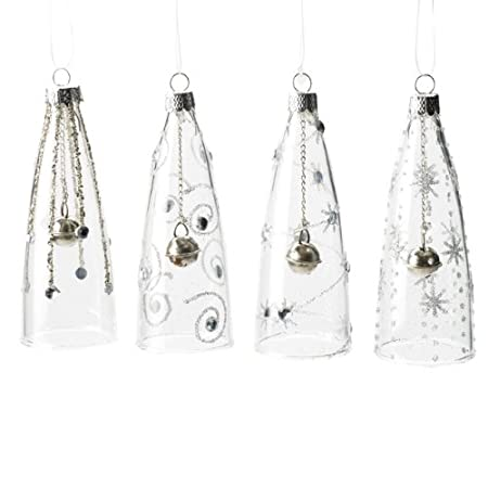 set of four tall glass bell christmas tree decorations 10cm