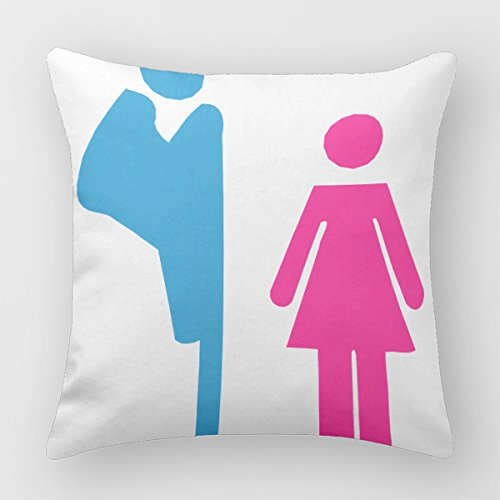 ??Vector Peeping Tom Women'S Toilet Warning Sign?? Decorative Throw Pillow Case Pillow Case Square Cover