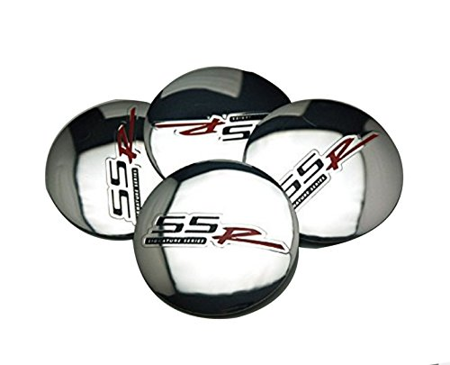 4pcs D115 Silver 56.5mm Car Emblem Badge Sticker Wheel Hub Caps Centre Cover SS R SIGNATURE SERIES for CHEVROLET Silverado