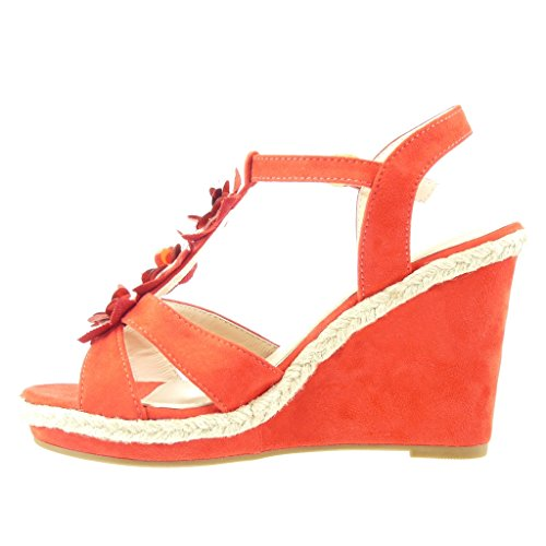 Angkorly - damen Schuhe Sandalen Espadrilles - T-Spange - Plateauschuhe - String Tanga - Blumen - Strass Keilabsatz high heel 11 CM - Rot