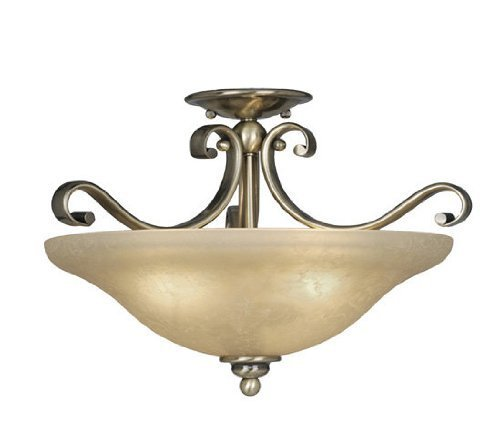 Vaxcel CF35417 Monrovia Semi Flush Mount Finish: Antique Brass [Kitchen] by Vaxcel International from Vaxcel International