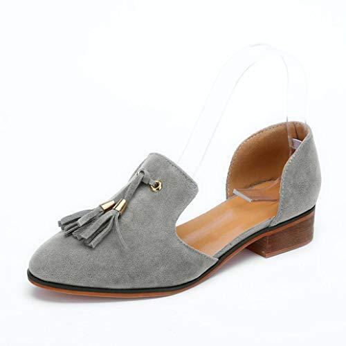 ance! Duseedik Women Ladies Autumn Shoes Fashion Ankle Solid Tassels Leather Romon Single Shoes ()