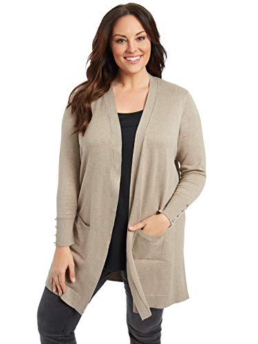 Button Long Cardigan Three (89th + Madison Comfy and Cozy Plus Size Duster Cardigan Sweater (2X, Truffle Heather))