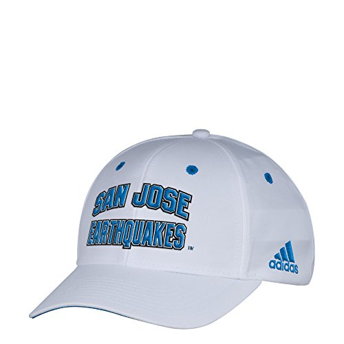 adidas MLS San Jose Earthquakes Men's White Wordmark Structured Adjustable Hat, One Size, White