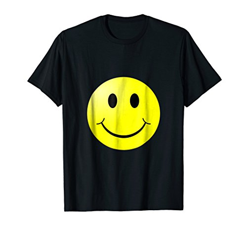 Face T-shirt Happy - Smile Don't Worry and Be Happy Yellow Smiley Face T-shirt