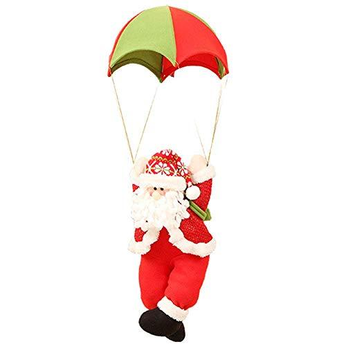 QIKI Christmas parachute, old man hanging pieces Christmas decorations shopping mall window ornaments Skydiving doll ornaments (Parachute Santa Ornament)