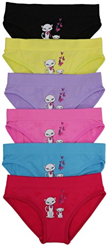 ToBeInStyle Girls' Pack Of 6 Seamless Bikini Panties (Seamless Panty - Medium (Ages 7-11), Seamless Panty - Cats & Butterfly)