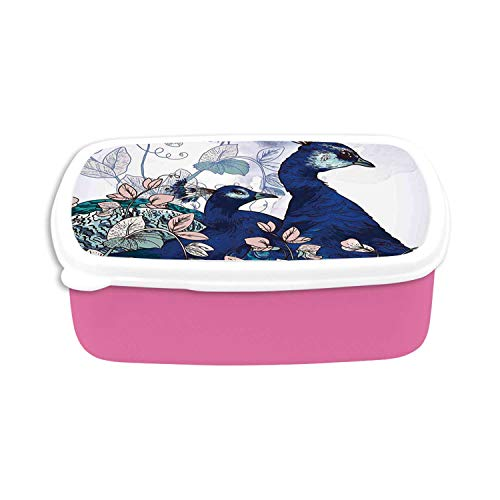 Peacock Decor Utility Plastic Lunch Containers,Peacocks Decorating Exotic Flowers Plants Garden Forest Springtime Illustration for Home,7.09