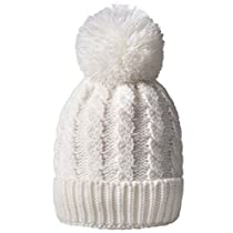 Womens Winter Beanie Warm Fleece Lining Thick Slouchy Cable Knit Hat(5color)