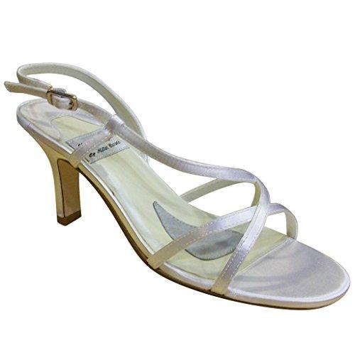 Lady Dye Women's 999 White Majilite Cute Mid Heel Open Toe Satin Sandals 10