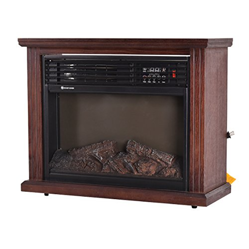 Giantex 28 Free Standing Electric Fireplace 1500w Glass View Log Flame Remote Home Space Heater