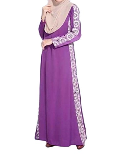 Purple Splice Kaftans Gown Malaysia Women Party Lace Dress Muslim Coolred Abaya Long wqxPRqpE