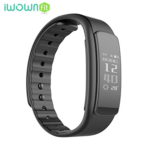 IWOWNfit I6 HR Smart Wristband Fitness Tracker Heart Rate Monitor IP67 Waterproof Bluetooth Smart Band Bracelet for IOS Android (Black)