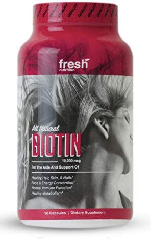 Biotin 10000mcg Supplement for Hair Growth, Skin & Nails, Food & Energy Conversion, Immune Function, Health Metabolism - Potent Vegan Friendly, Non GMO, Gluten & Soy Free - 90 Capsules/Pills