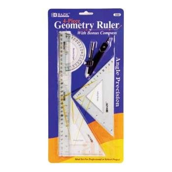 Ddi Bazic Geometry Ruler Combination Sets W/ Compass(Pack Of 144) by DDI