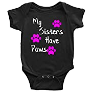 Teehub My Sisters Have Paws Onesie Cute Cat Dog Lover Baby Bodysuit for Girls (Black, 6M)