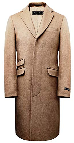 Mens Camel Wool Covert Overcoat Warm Winter Mod Single Breasted Cromby Coat with Gold Satin Lining (42)