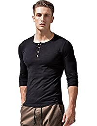 Mens Long Sleeve Button Up T Shirts Stretchy Slim Fit Athletic Casual Tee