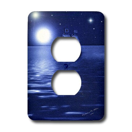 (3dRose lsp_6670_6 Pirate Smudge Ship Art 2 Plug Outlet Cover Multicolor )