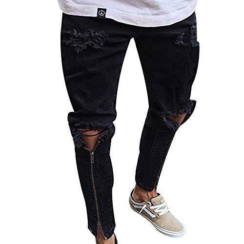 Men's Distressed Slim Denim Pants Hip Hop Ripped Holes Patch Work Skinny Jeans
