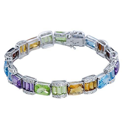 Sensational Birthstones 14K White Gold Bracelet : Ruby, Blue Topaz, Amethyst, Peridot,Citrine, Garnet, Diamond