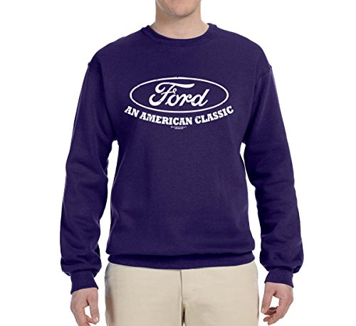 Crewneck Train (Ford Motors | an American Classic | Mens Planes/Trains/Automobiles Crewneck Graphic Sweatshirt, Purple, Large)