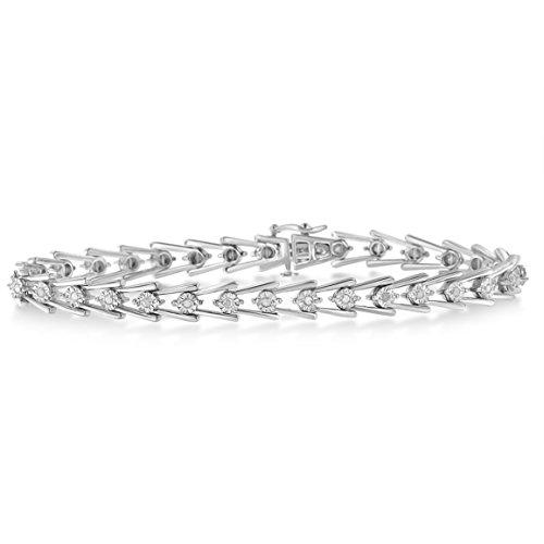 Original Classics Sterling Silver Diamond Wave-Style Link Bracelet (0.5 cttw, I-J Color, I3 Clarity)