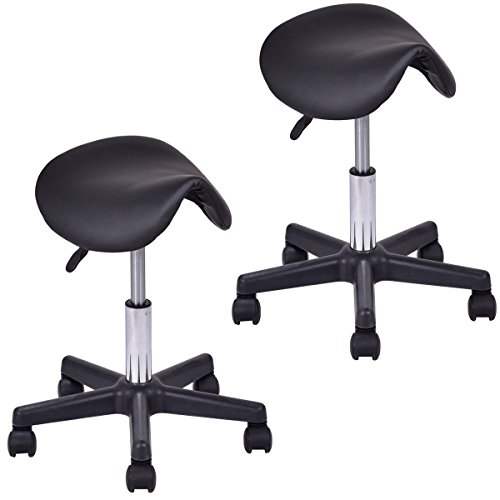 Giantex Adjustable Saddle Salon Stool Hydraulic Massage Tattoo Facial Spa Backless Swiveling Chair (2Black)