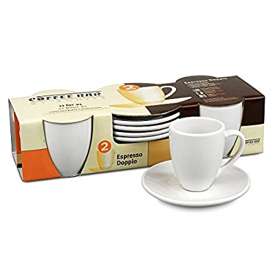 Konitz Coffee Bar Espresso Doppio Cups/Saucers, Set of 4