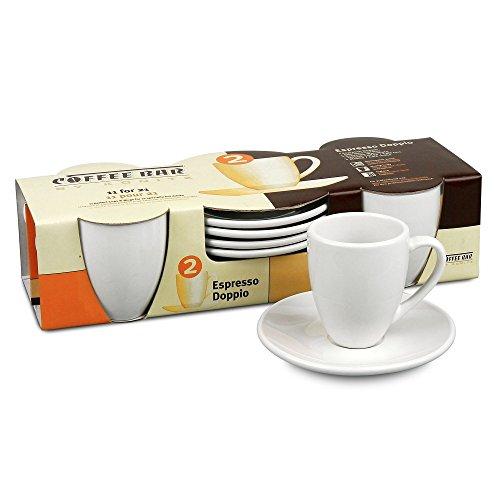 Konitz Coffee Bar Espresso Doppio Cups/Saucers, Set of 4