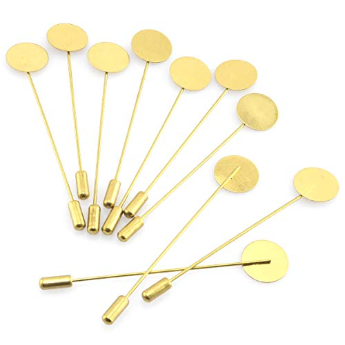 Lind Kitchen 20pcs Round Tray Brooch Pin Stick 15x76mm Metal Copper DIY Handmade Dress Costume Jewelry Making Accessories Safety Brooch Lapel Pins (Gold)