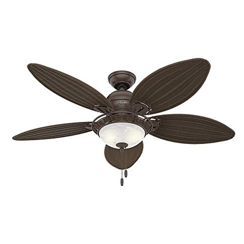 Hunter 54095 Caribbean Breeze 54-Inch Ceiling Fan with Five Antique Dark Wicker Blades and Light Kit, Weathered Bronze