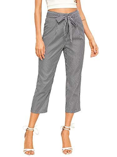 WDIRARA Women's Elegant Vertical Striped High Waist Belted Capris Crop Pants Grey L