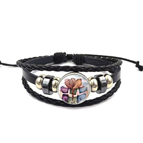 Sister Love Forever Friendship Leather Rope Bracelet Bangle Gift For Friend Family by Mrsrui