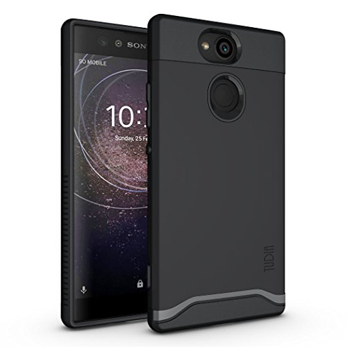 , TUDIA Slim-Fit HEAVY DUTY [MERGE] EXTREME Protection/Rugged but Slim Dual Layer Case for Sony Xperia XA2 (Matte Black) (Oem Fitted Rubberized Skin)