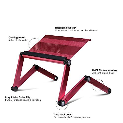 Furinno A6-Pink Ergonomics Aluminum Vented Adjustable Laptop Portable Bed Tray, Pink