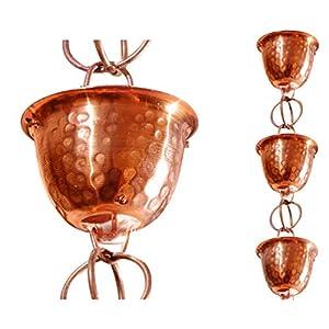 Monarch Rain Chains 26558 Pure Copper Hammered Cup Rain Chain, 8-1/2-Feet Length, 8.5 Ft
