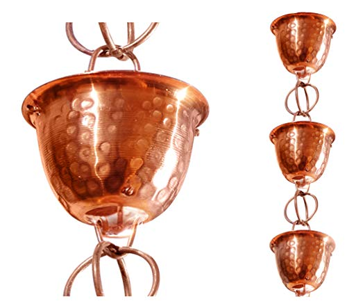 Monarch Pure Copper Hammered Cup Rain Chain Extension, 3 Feet Length