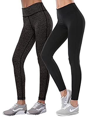 Aenlley Womens Activewear Yoga Pants High Rise Workout Gym Spandex Tights leggings Color Black BlackGrey Size XS Pack of 2