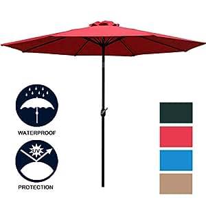 Sunnyglade 9'patio paraguas al aire libre Paraguas de mesa con 8resistente costillas
