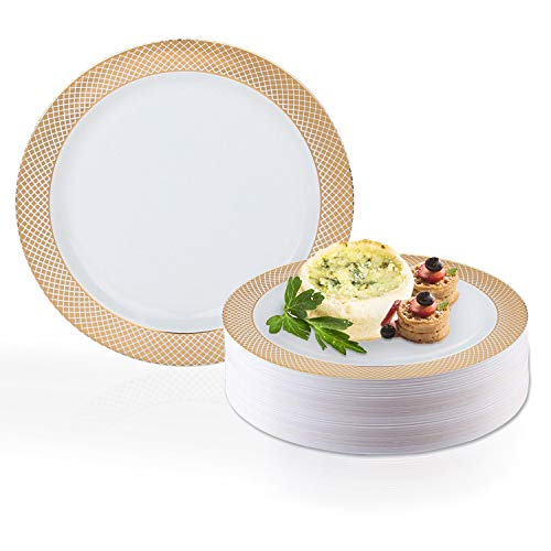 Elegant Disposable Plastic Dessert Plate Set - Heavy Duty Fancy Round White with Rose Gold Salad or Cake Plates - Reusable Party Plates For Wedding, Christmas, Thanksgiving, Birthday & Other Occasions