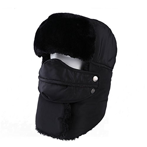 Leories Winter Trapper Trooper Hat Windproof Warm Camouflage Mask Ear Flaps Outdoor Sports Walking Skiing Hunting Hat Black ()