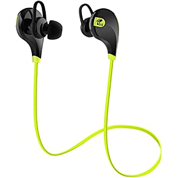 SoundPEATS Bluetooth Headphones Stereo Wireless Earphones for Running with Mic (6 Hours Play Time, Bluetooth 4.0, IPX4 Sweatproof, Secure Ear Hooks Design) - Black & Green