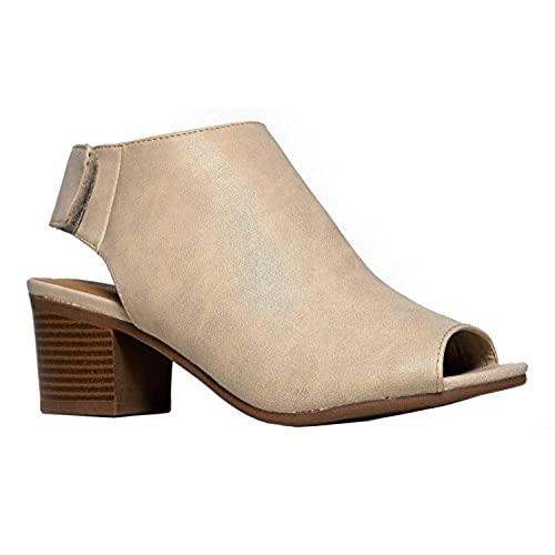 878ba951b durable service OLIVIA K Women's Peep Toe Bootie - Low Stacked Heel - Ankle  Boot Cutout