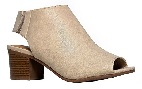 J. Adams Harlyn Ankle Bootie - Adjustable Band Peep Toe Low Stacked Heel Boots