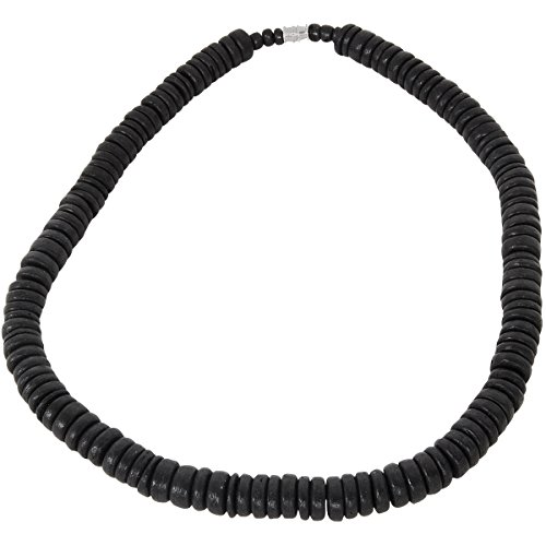 Tribal Hollywood Punaluu Black Coconut Shell Discs Hawaiian Mens Bead Choker -