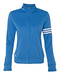 Adidas A191 Ladies Climalite 3-stripes Full Zip Pullover Jacket - Oasis & White, Large