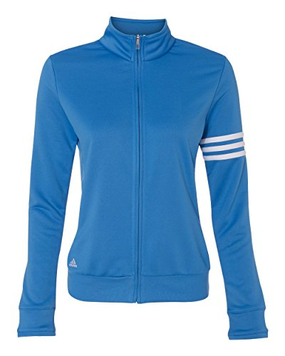 (A191 Adidas Women's ClimaLite 3-Stripes Full Zip Pullover Jacket - Oasis/ White - Small)